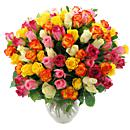 Rainbow Roses bouquet made from red, pink and yellow roses. Qualifies for next-day free delivery