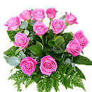 12 Pink Roses – fresh flowers for UK delivery by post – bouquets and arrangements from Clare Florist