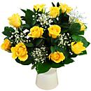 A dozen cheerful yellow roses bringing warm sunny feelings of happiness.