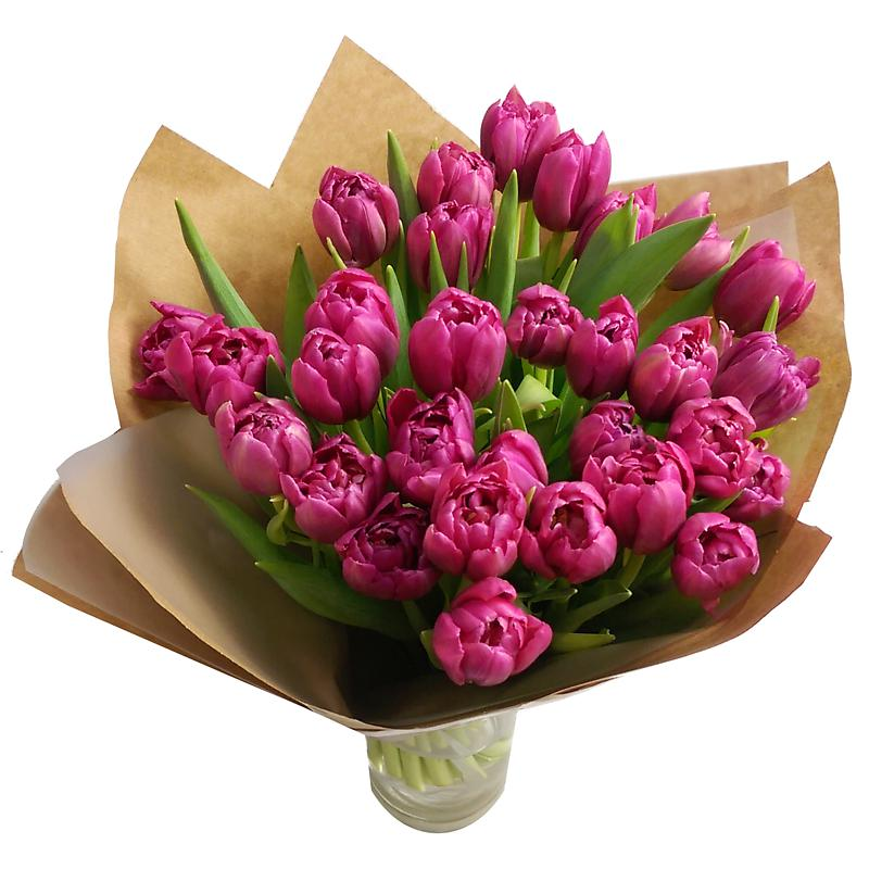 Click to view product details and reviews for 30 Pink Tulips With Free Vase.