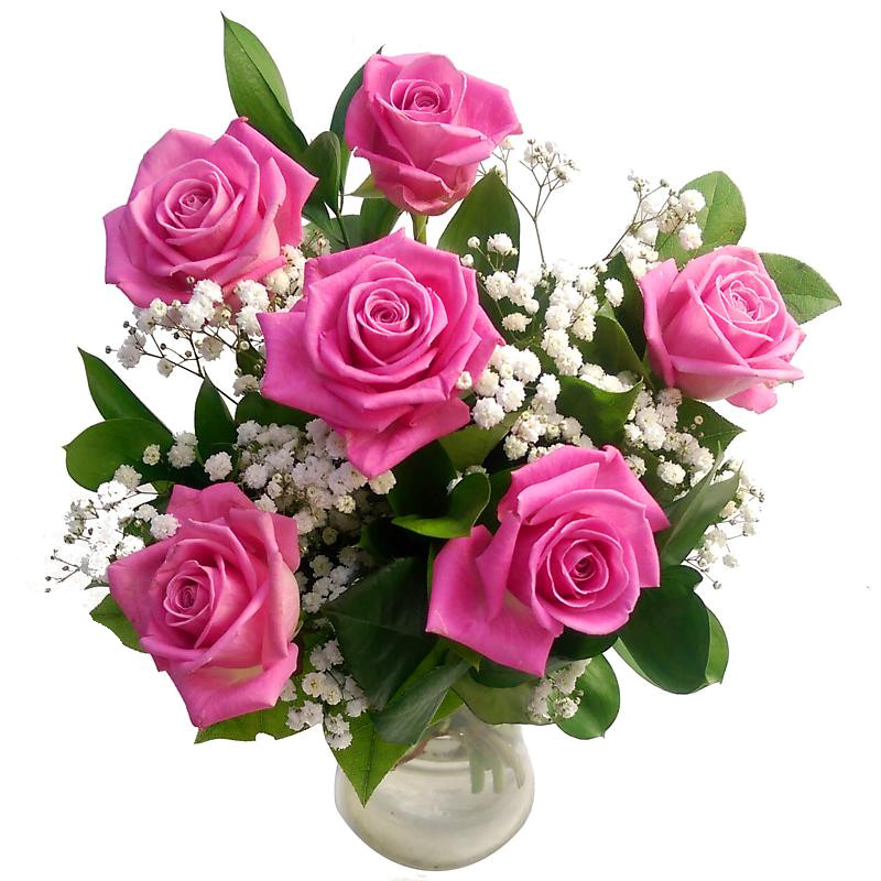 6 pink roses fresh flower bouquet lovely arrangement of for Images of bouquets of roses