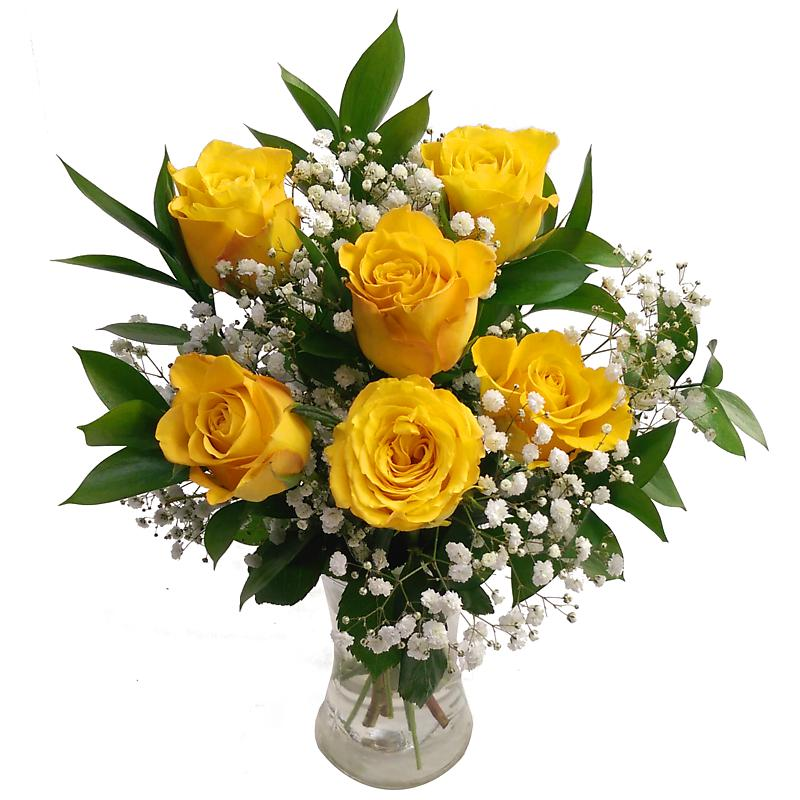 Send 6 Yellow Roses Bouquet - UK Next Day Delivery by Clare Florist