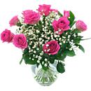 Simply Spectacular - 12 Pink Roses. A simply stunning and vibrant arrangement in dazzling pink