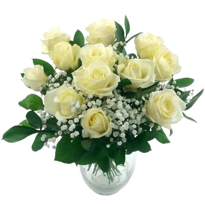 Dozen White Roses Fresh Flower Bouquet | White Rose Flowers ...