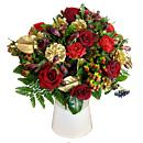 red carnations carnations chrysanthums red chrysanthum hypericum red hypericum  berries red berries alstromeria pine cones gold pine cones