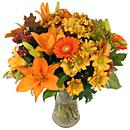 A full view of 'Autumn Glow', an arrangement of fresh autumn flowers available now for next-day delivery from Clare Florist