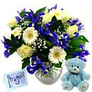 Baby Boy Flower Gift Set – fresh flowers for UK delivery by post – bouquets and arrangements from Clare Florist