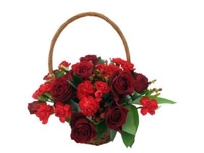 Beloved Roses Rustic Flower Basket