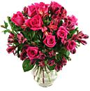 Cerise Rosmeria Bouquet, a splendiferous arrangement which boasts the freshest roses and alstroemeria which includes standard next day delivery.