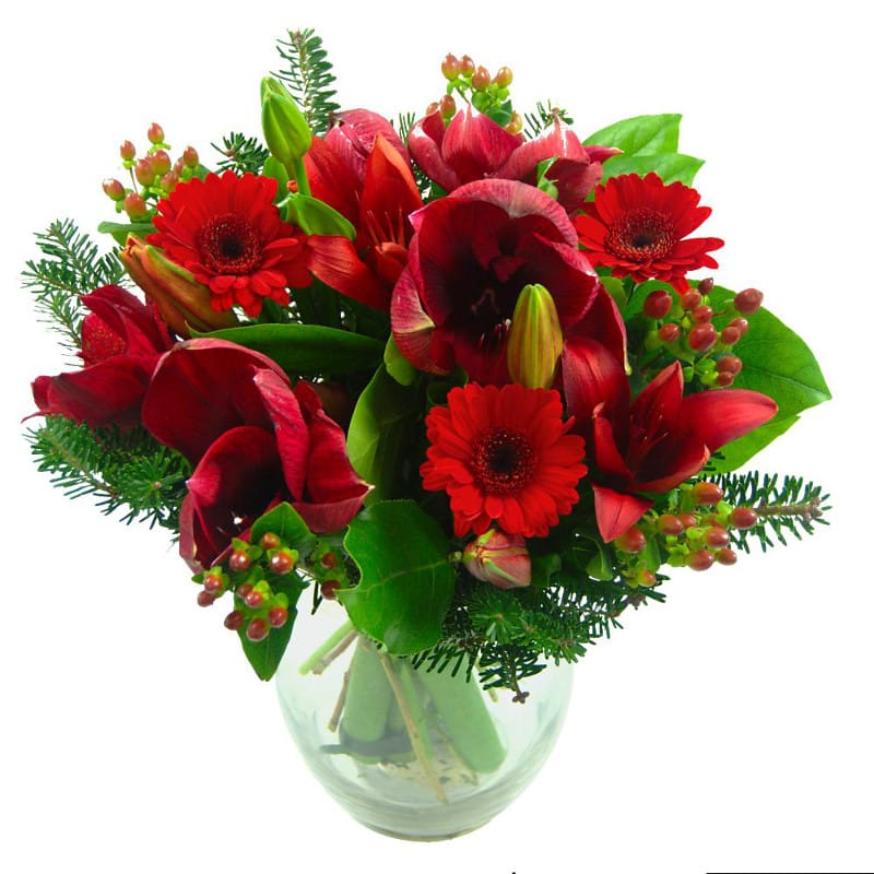 christmas joy flower bouquet, a festive green and red bouquet