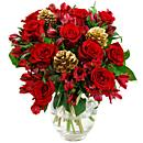 a small image of our christmas rosmeria bouquet, a stunning bouquet of roses and alstromeria for sending to a loved one