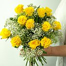 Dozen Yellow Roses – fresh flowers for UK delivery by post – bouquets and arrangements from Clare Florist