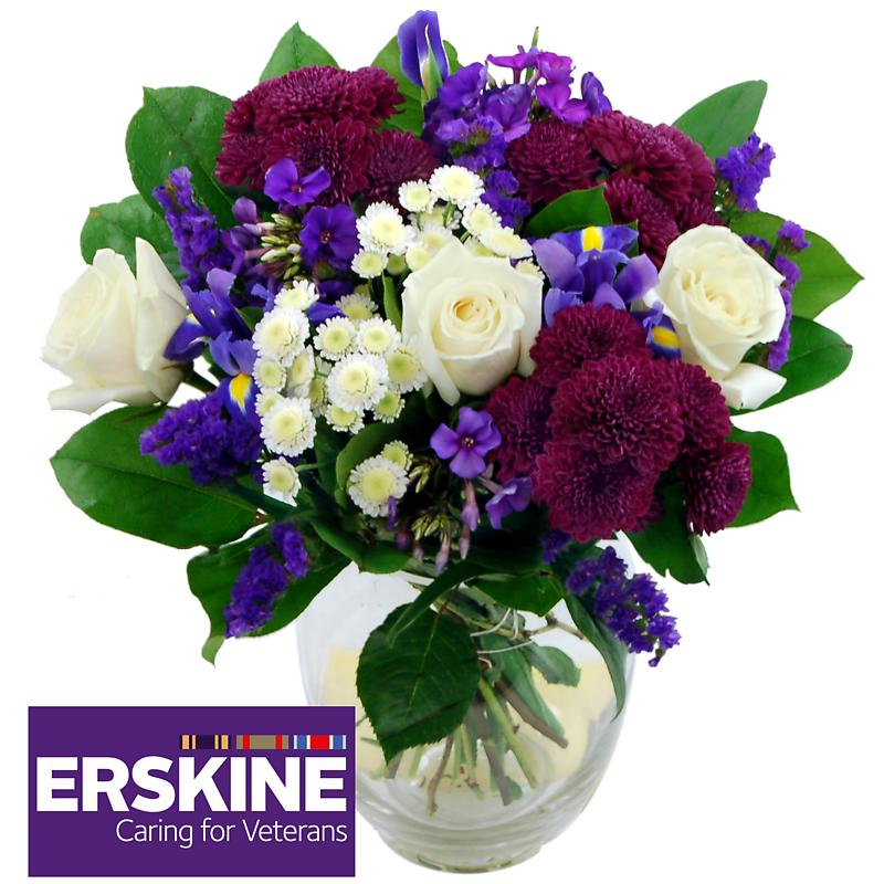 erskine bouquet - white roses and iris flowers