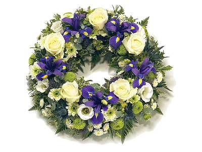 Blue and White Wreath half price special offer on subscriptions.