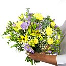 Freesia and Lily Bouquet – fresh flowers for UK delivery by post – bouquets and arrangements from Clare Florist