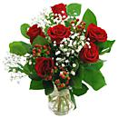 A small view of the 6 red roses bouquet, an arrangement of fresh flowers available now for next-day flower delivery from Clare Florist