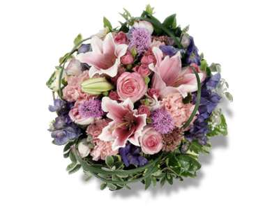 Loose Posy of seasonal pink lilies and roses