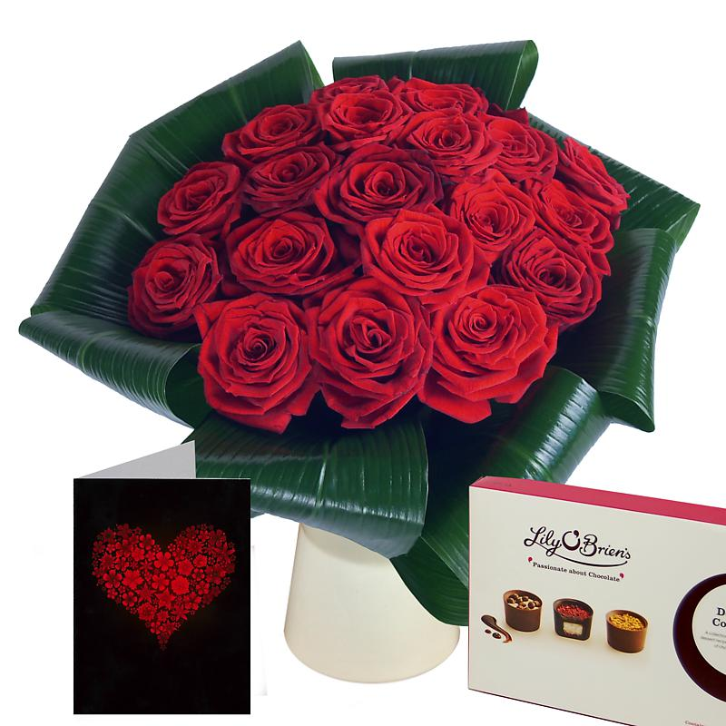 Love - 20 Red Roses Gift Set half price special offer on subscriptions.