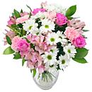 The Mother's Day Bouquet - Comprising of elegant pink roses and gerbera, pretty pink alstroemeria and carnations, fresh and fragrant pink lilies and gorgeous long lasting pink and white chrysanthemums.