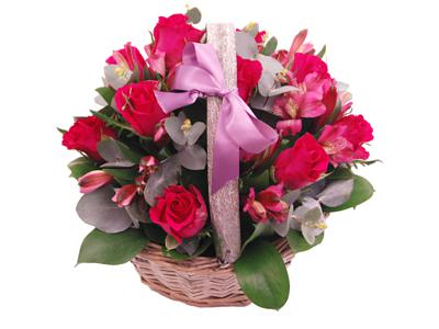 pink affection basket