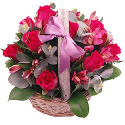 A large view of the pink affection basket, an arrangement of fresh flowers available now for next-day flower delivery from Clare Florist