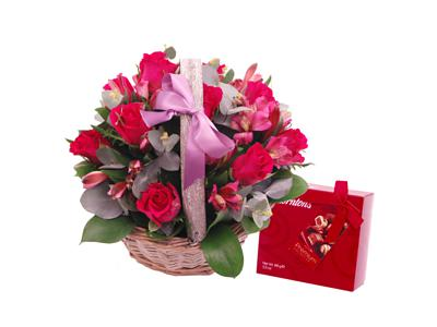 pink affection basket by clare florist