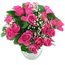 A full view of '20 Pink Roses and gyp Bouquet', available now for next-day delivery from Clare Florist
