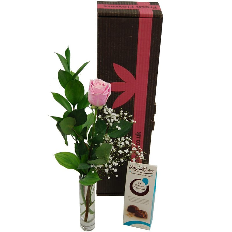 Single pink rose gift set fresh pink rose vase and chocolates single pink rose gift set negle Choice Image