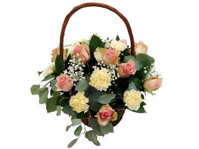 Precious Pink Rustic Flower Basket