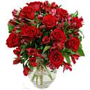 Red Rosmeria Bouquet boasts an elegant arrangement of fresh roses and alstroemeria, offered with free standard next day delivery.