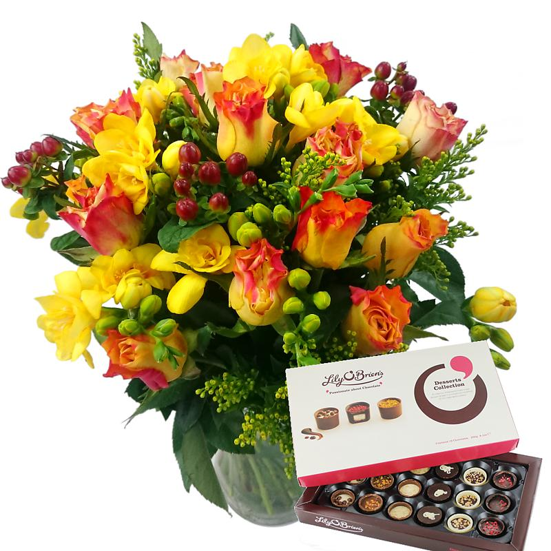 Rose & Freesia with Chocolates and Vase half price special offer on subscriptions.