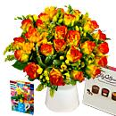 Rose and Freesia Gift Set – fresh flowers for UK delivery by post – bouquets and arrangements from Clare Florist