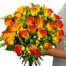 Rose and Freesia with Free Chocolates – fresh flowers for UK delivery by post – bouquets and arrangements from Clare Florist