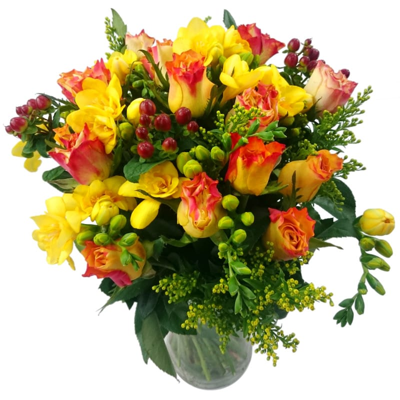 Rose & Freesia Fresh Flower Bouquet | Beautiful Roses and Freesia ...