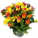 Full view of our Rose and Freesia hand-tied bouquet