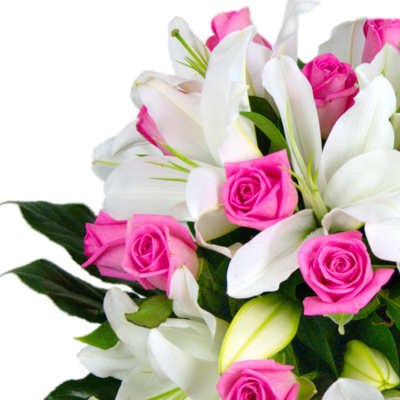 Rose and Lily Fresh Flower Bouquet | Lovely Pink Roses and White ...