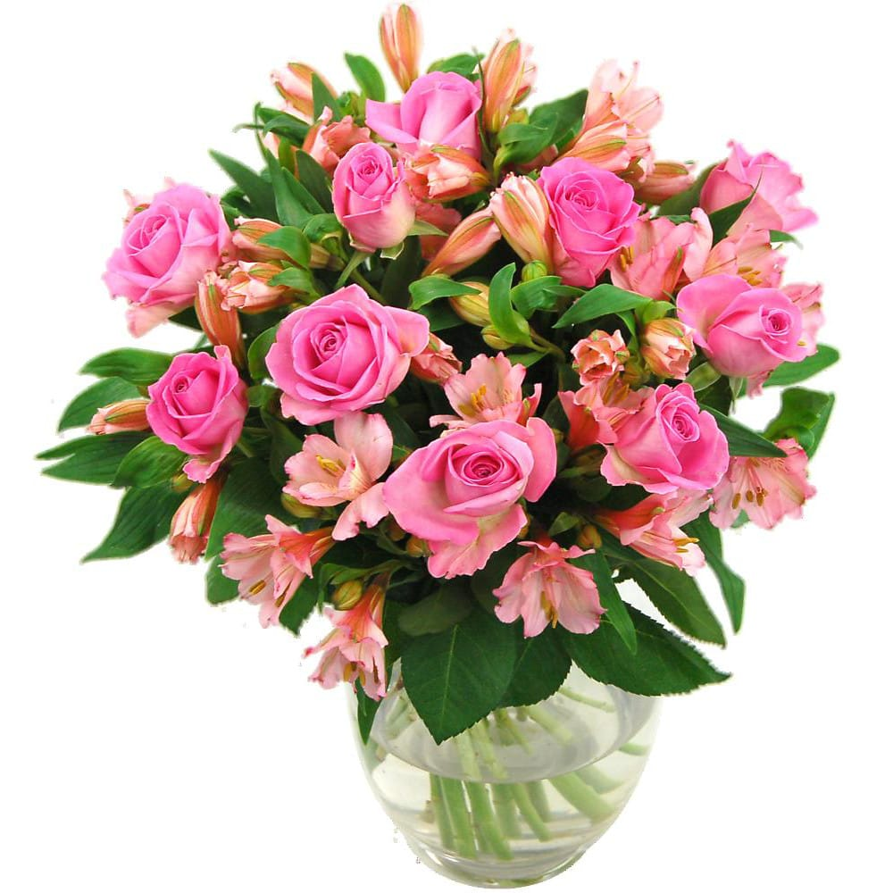 pink roses and alstromeria bouquet