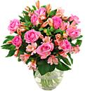 Pink Rosmeria, a warm and cheery arrangement of pink roses and alstromerias availlable for next day free delivery.