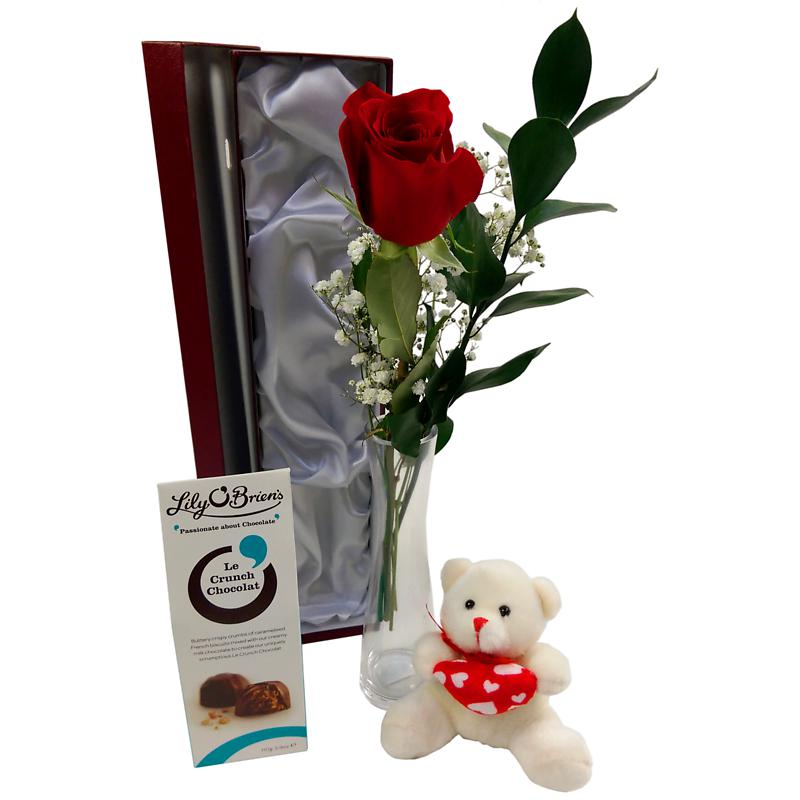 Single Red Rose Deluxe Gift Set Red Rose With Vase