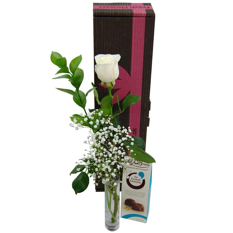 Single White Rose Gift Set