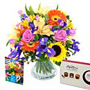 Burst of Spring Bouquet Gift Set – fresh flowers for UK delivery by post – bouquets and arrangements from Clare Florist