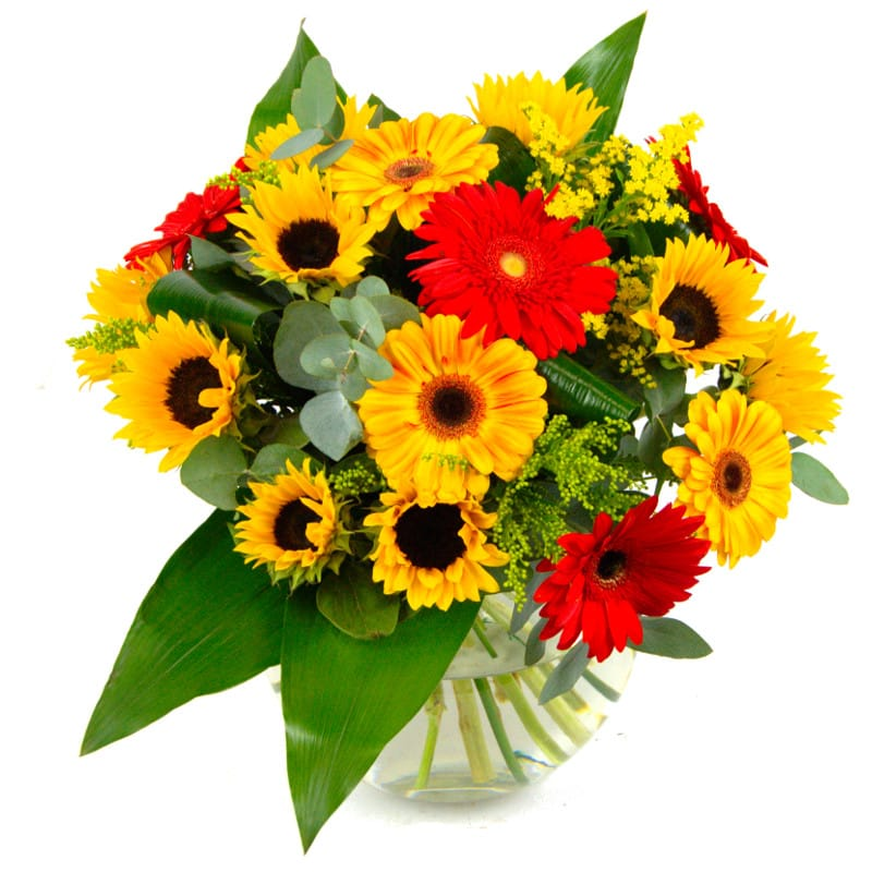 Summer Sunshine Fresh Flower Bouquet | Sunflowers and Germini ...