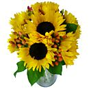 A view of sun flowers, an arrangement of fresh summer flowers available now for next-day delivery from Clare Florist