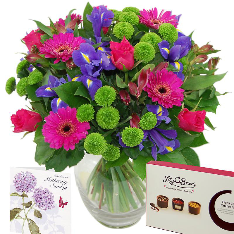 Thanks mum floral gift set, contains roses, santini, lilies and germinis