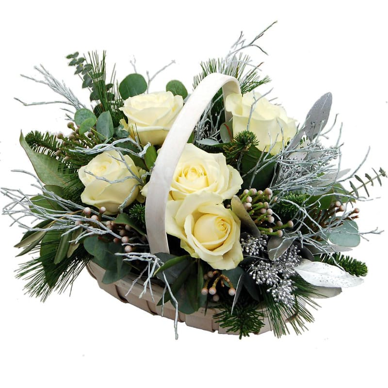 Winter Joy Basket flowers for christmas