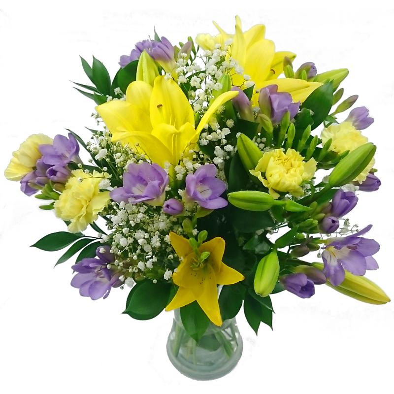 Freesia & Lily Fresh Flower Bouquet | Fragrant Freesia Flowers ...