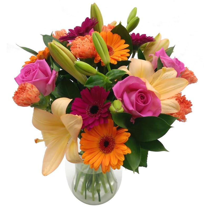 Carnival Fresh Flower Bouquet | Colorful Lilies, Gerbera and ...