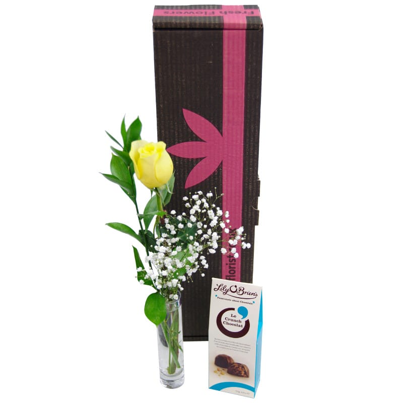 yellow single rose gift set