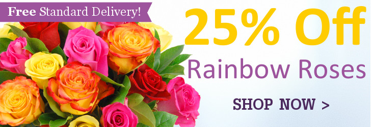 25 per cent off Rainbow Roses in the Clare Florist spring sale