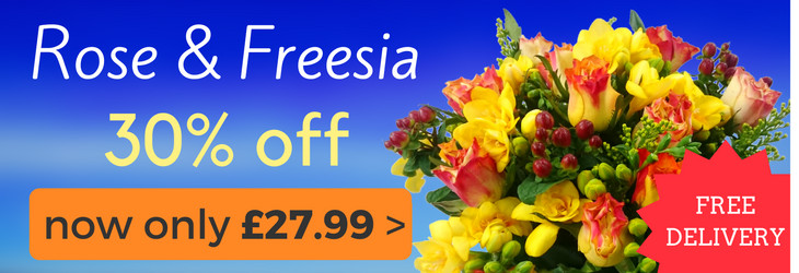 30% off Rose & Freesia Bouquet, includes free next working day delivery